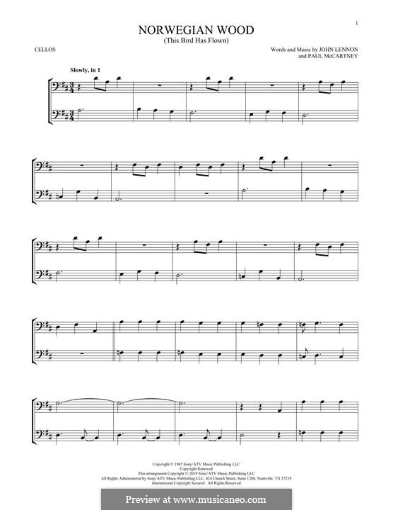 Norwegian Wood (This Bird Has Flown): Für zwei Cellos by John Lennon, Paul McCartney