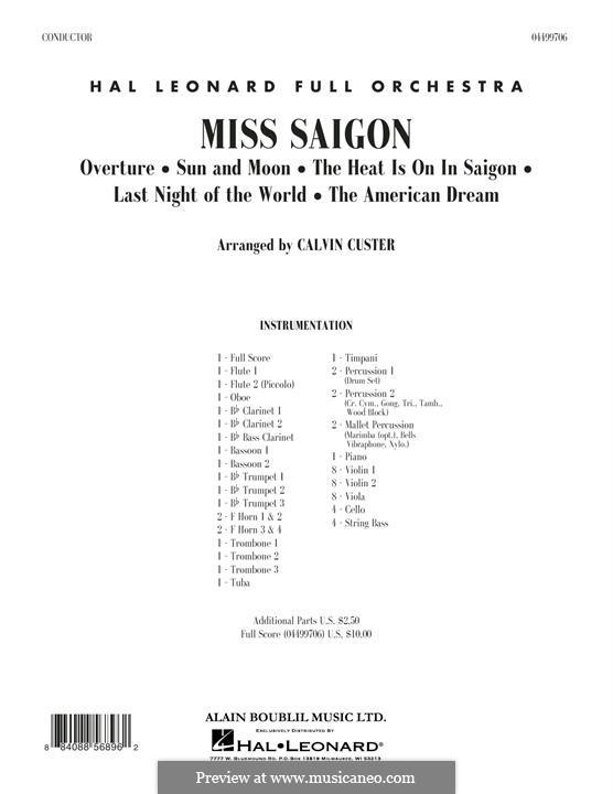 Miss Saigon: Vollpartitur by Claude-Michel Schönberg