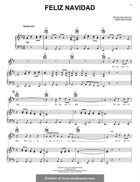 Feliz Navidad: Für Stimme und Klavier (oder Gitarre) by José Feliciano
