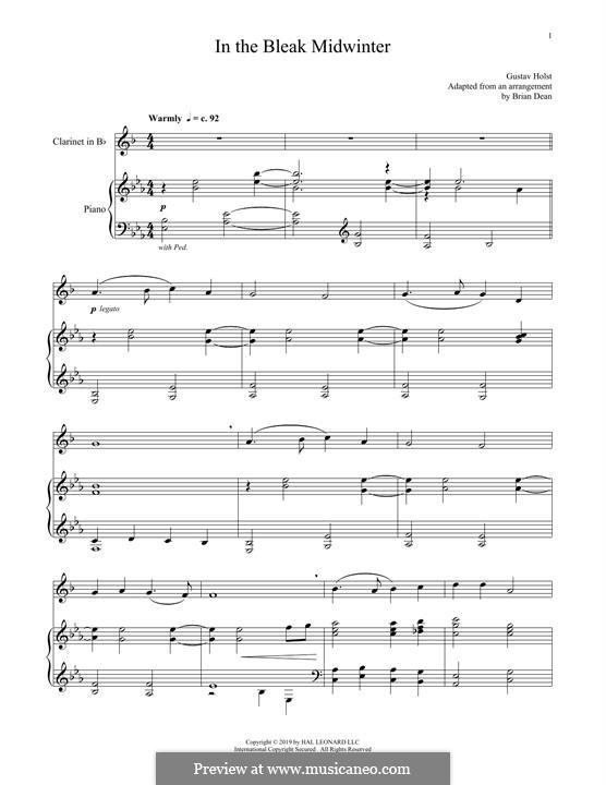 In the Bleak Midwinter: Für Klarinette und Klavier by Gustav Holst