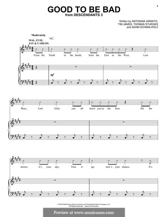 Good To Be Bad (from Disney's Descendants 3): Für Stimme und Klavier (oder Gitarre) by Adam Schmalholz, Antonina Armato, Thomas Armato Sturges, Timothy James