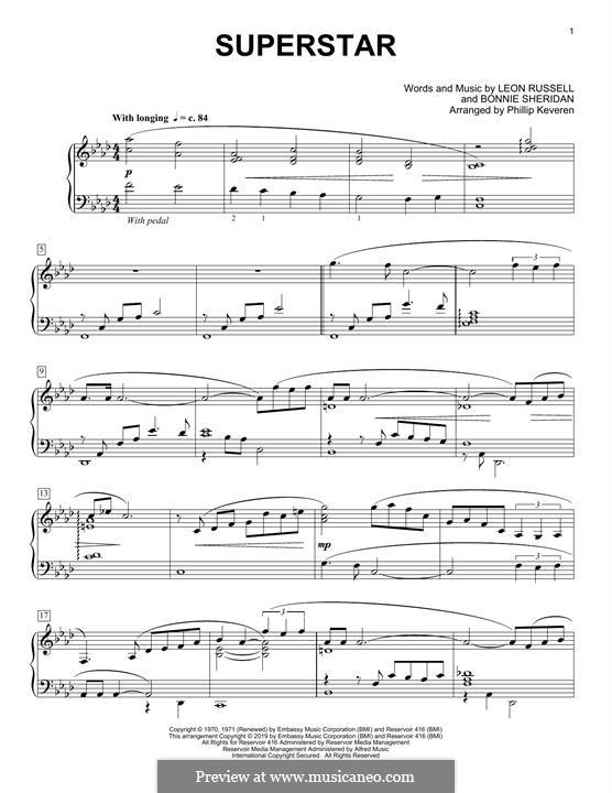 Superstar (Carpenters): Für Klavier by Bonnie Sheridan, Leon Russell
