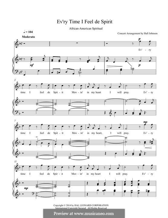 Every Time I Feel the Spirit: Für Stimme und Klavier by folklore