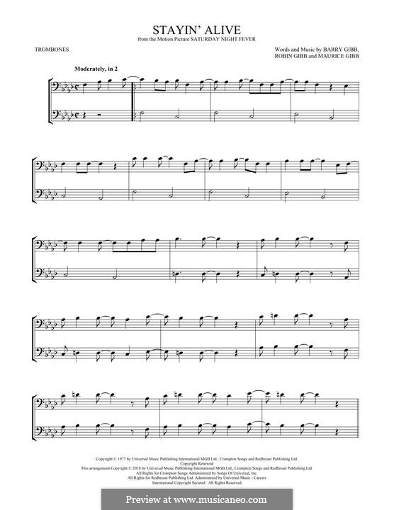 Stayin' Alive (The Bee Gees): For two trombones by Barry Gibb, Maurice Gibb, Robin Gibb