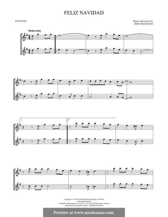 Feliz Navidad: For two alto saxophone by José Feliciano