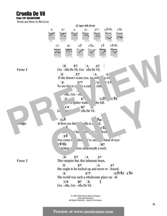 Cruella de Vil (from 101 Dalmatians): Text und Akkorde by Mel Leven