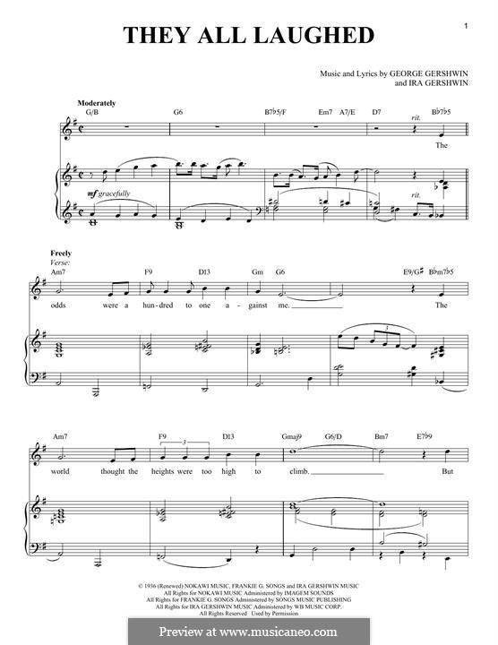 They All Laughed: Für Stimme und Klavier (Frank Sinatra) by George Gershwin