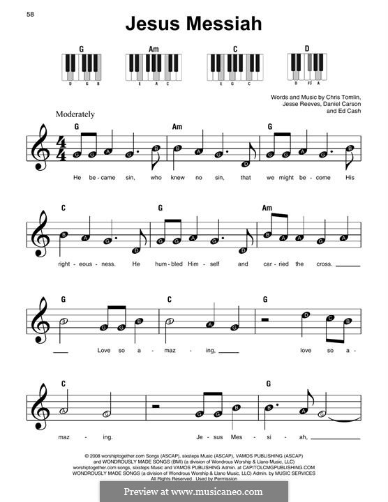 Jesus Messiah: Für Klavier, leicht by Chris Tomlin, Daniel Carson, Ed Cash, Jesse Reeves