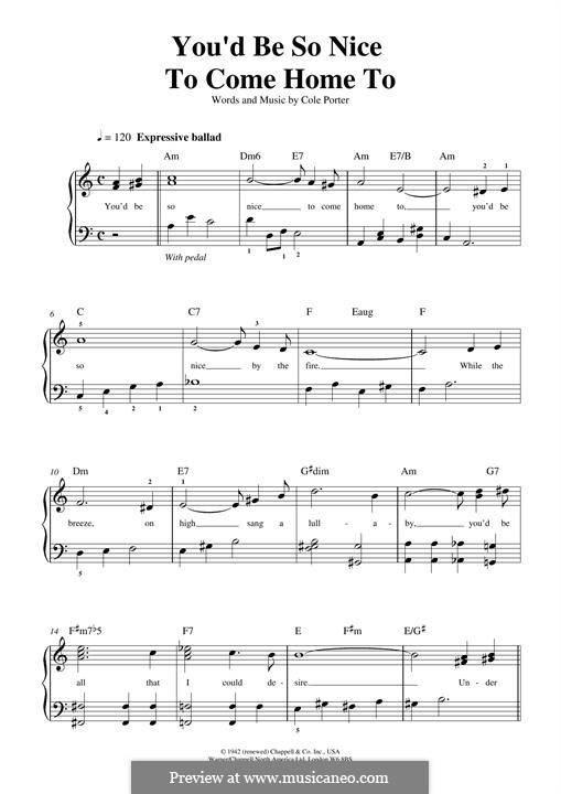 You'd Be So Nice to Come Home to: Für Klavier, leicht by Cole Porter