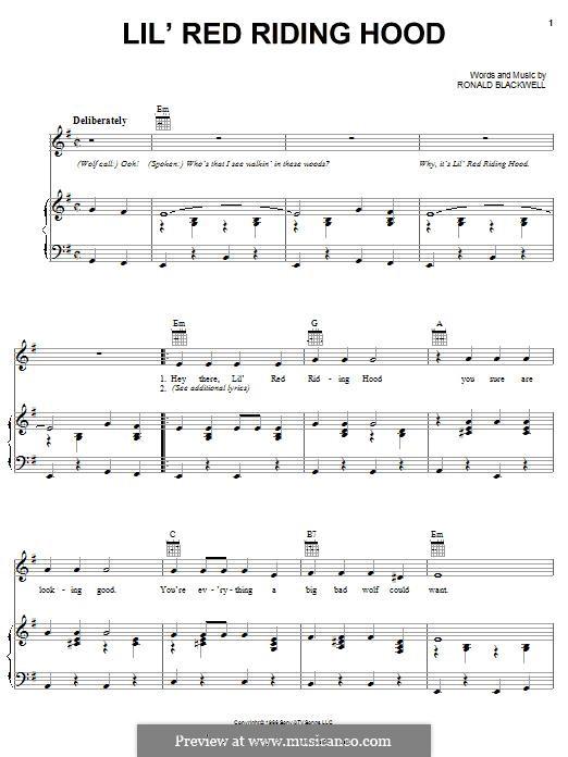 Lil' Red Riding Hood (Sam The Sham & The Pharoahs): Für Stimme und Klavier (oder Gitarre) by Ronald Blackwell