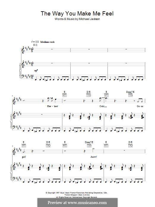 The Way You Make Me Feel: Für Stimme und Klavier (oder Gitarre) by Michael Jackson