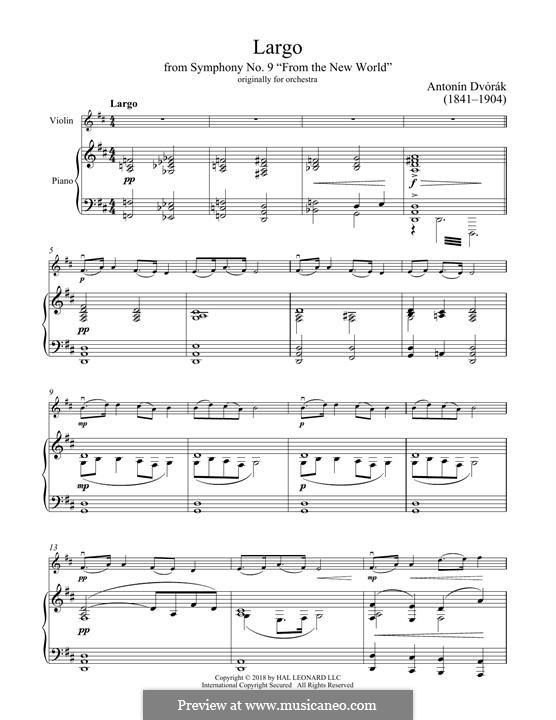 Teil II (Largo): Theme, for violin and piano by Antonín Dvořák