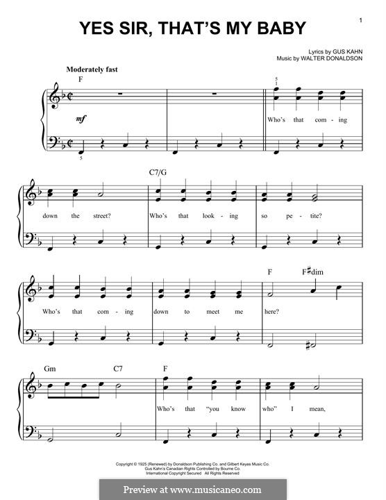 Yes Sir, That's My Baby: Für Klavier, leicht by Walter Donaldson