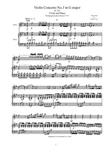 Konzert für Violine und Orchester Nr.3 in G-Dur, K.216: Arrangement for violin and piano - score and solo part by Wolfgang Amadeus Mozart