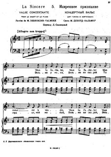 Songs and Romances (Book I), Nos.1-23: No.5 La sincere by Alexander Sergeyevich Dargomyschski