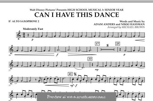 Can I Have This Dance (High School Musical 3): Eb Alto Saxophone 2 part by Adam Anders, Nikki Hassman