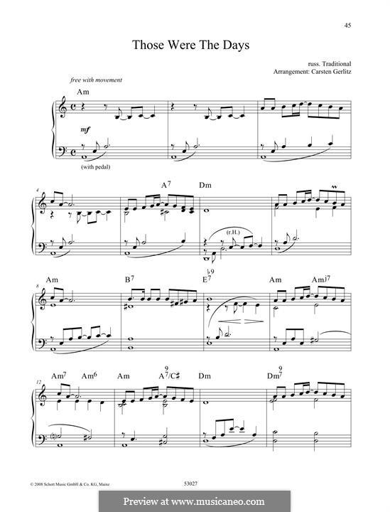 Those Were the Days: Für Klavier by folklore