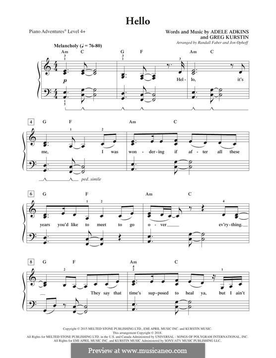 Instrumental version: Für Klavier, leicht by Adele