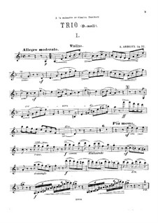 Klaviertrio Nr.1 in d-Moll, Op.32: Violinstimme by Anton Arenski