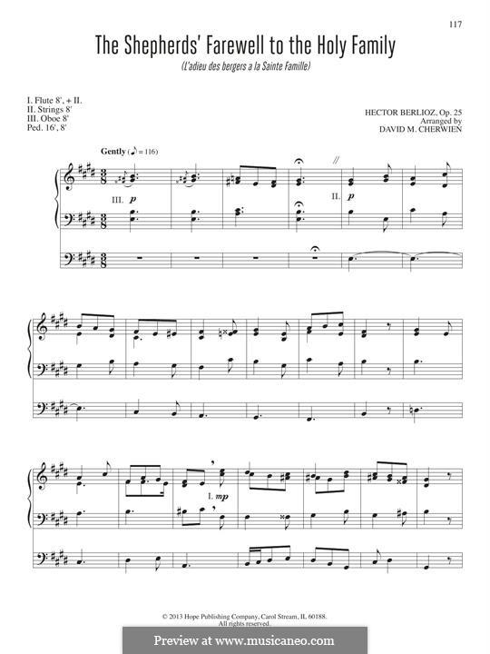 L'enfance du Christ (Die Kindheit Christi), H.130 Op.25: The Shepherd's Farewell, for organ by Hector Berlioz