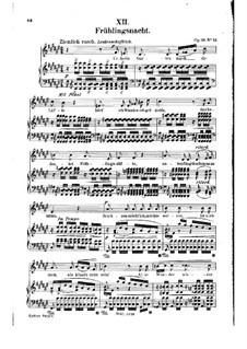Nr.12 Frühlingsnacht: Klavierauszug mit Singstimmen (auf Deutsch) by Robert Schumann
