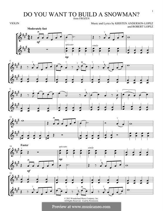 Do You Want to Build a Snowman? (Kristen Bell): Für zwei Violinen by Robert Lopez, Kristen Anderson-Lopez