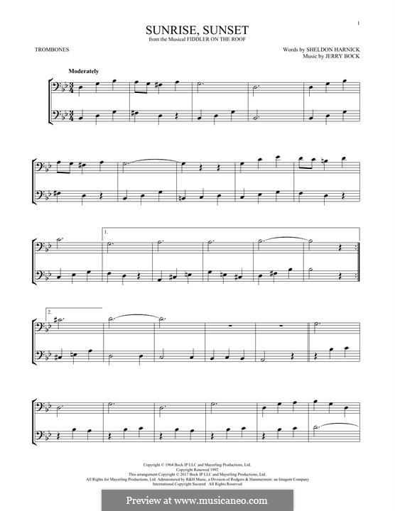 Sunrise, Sunset (from Fiddler on the Roof): For two trombones by Jerry Bock