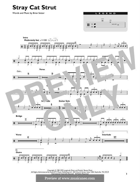 Stray Cat Strut (Stray Cats): Drum set by Brian Setzer