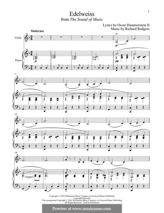 Edelweiss (from The Sound of Music): Für Violine und Klavier by Richard Rodgers