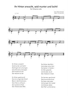 Ihr Hirten erwacht, seit munter und lacht!: For guitar solo (C Major) by folklore