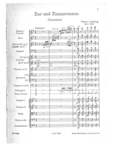 Zar und Zimmermann, LoWV 38: Ouvertüre. Partitur by Albert Lortzing