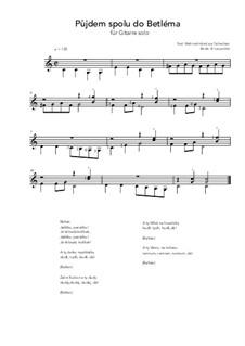 Pujdem spolu do Betlema: For guitar solo (C Major) by folklore