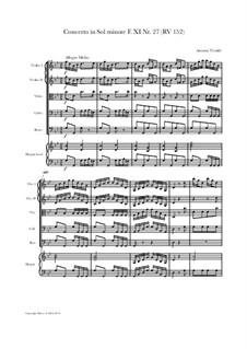 Concerto for Strings in G Minor, RV 152: Score and parts by Antonio Vivaldi