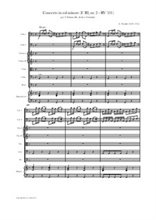 Konzert für zwei Cellos und Streicher in g-Moll, RV 531: Score, parts by Antonio Vivaldi