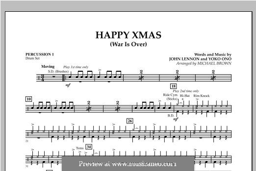 Happy Xmas (War Is Over): Percussion 1 part (Michael Brown) by John Lennon, Yoko Ono