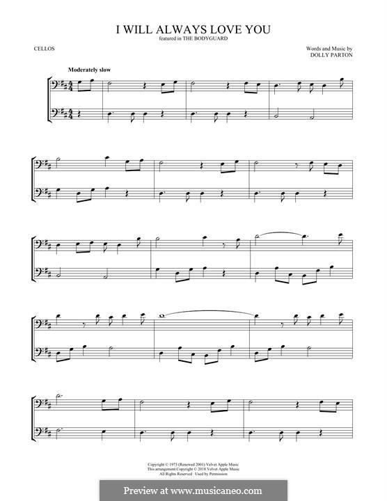 I Will Always Love You (Whitney Houston) instrumental version: Für zwei Cellos by Dolly Parton