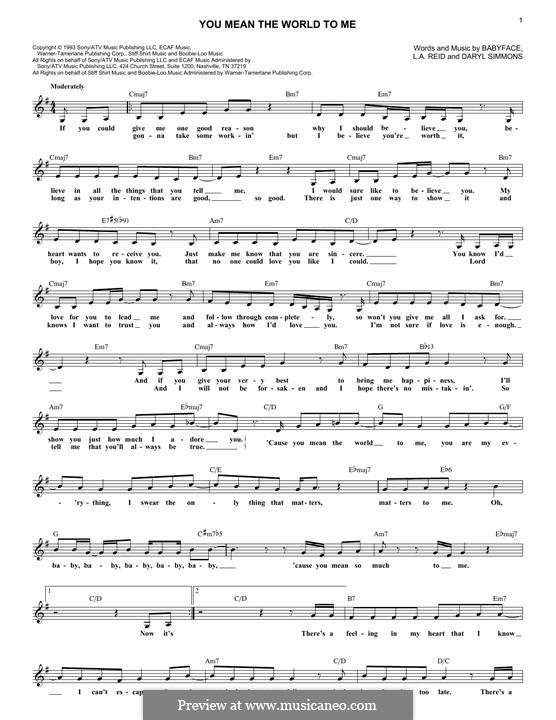 You Mean The World To Me (Toni Braxton): You Mean The World To Me (Toni Braxton) by L.A. Reid, Daryl Simmons, Kenneth 'Babyface' Edmonds