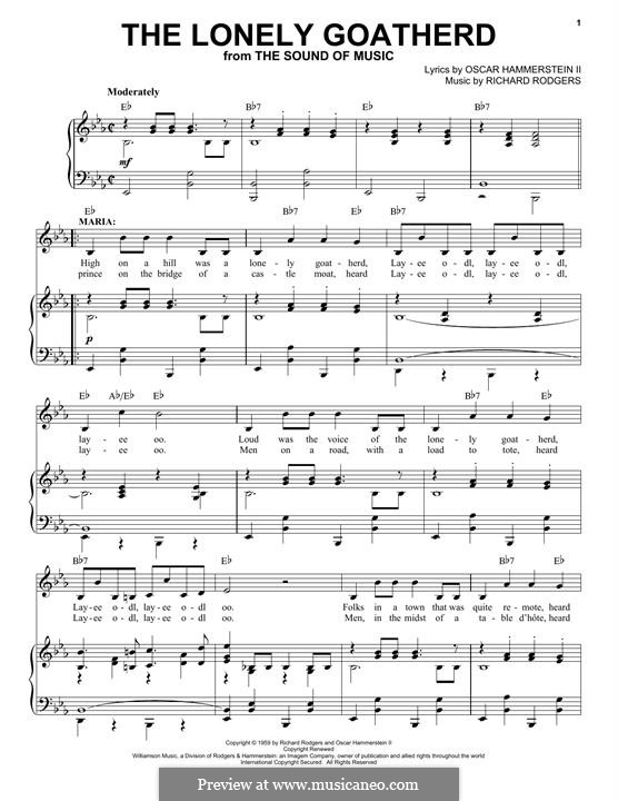 The Lonely Goatherd (from The Sound of Music): Für Stimme und Klavier by Richard Rodgers