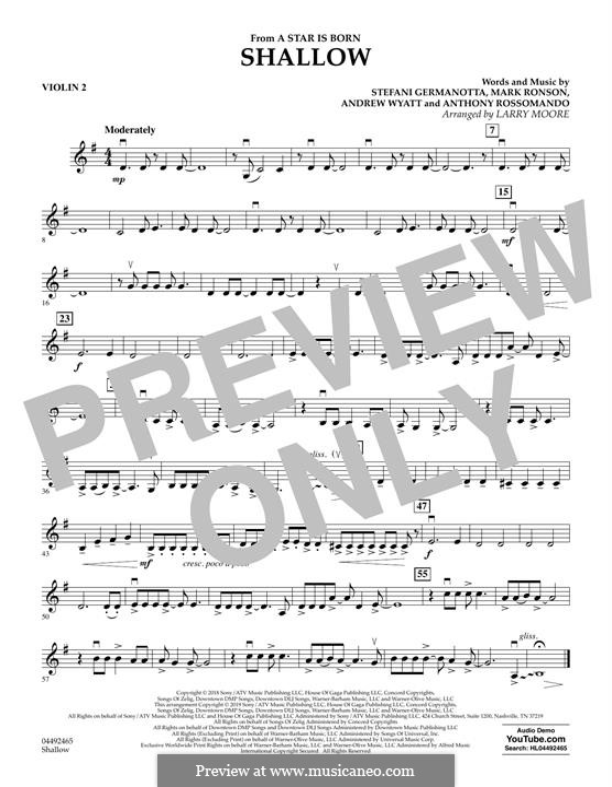 Shallow (from A Star is Born): Violin 2 part by Andrew Wyatt, Anthony Rossomando, Mark Ronson, Stefani Germanotta