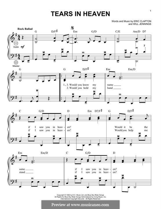 Tears in Heaven: Für Akkordeon by Eric Clapton, Will Jennings