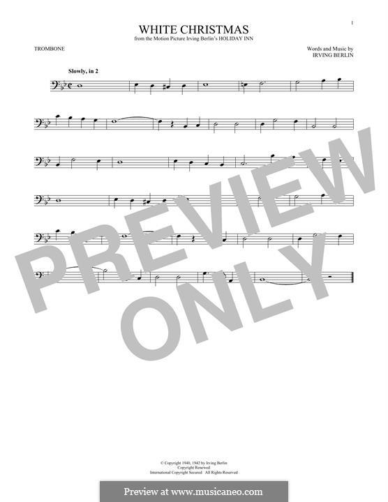White Christmas. Instrumental version: For trombone by Irving Berlin