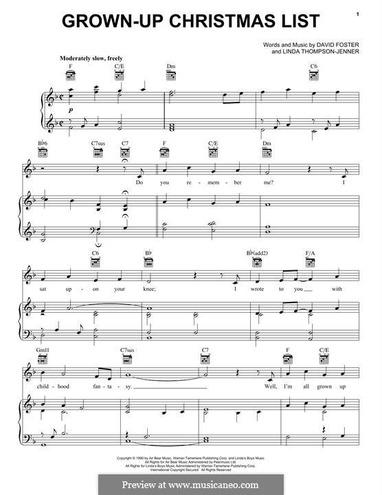 Grown-Up Christmas List: Für Stimme und Klavier (oder Gitarre) by David Foster, Linda Thompson-Jenner