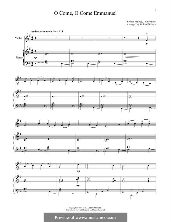 O Come, O Come, Emmanuel: Für Violine und Klavier by folklore