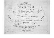 Trois themes variés, Op.34: Variationen über Thema 'Vivat Bacchus' aus 'Die Entführung aus dem Serail' von Mozart by Johann Nepomuk Hummel