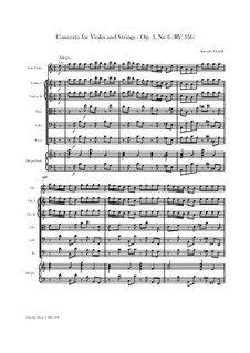 Konzert für Violine und Streicher Nr.6 in a-Moll, RV 356: Score, parts by Antonio Vivaldi