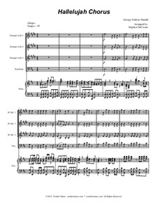 Nr.44 Halleluja: For Bb-trumpets (3), trombone and piano by Georg Friedrich Händel