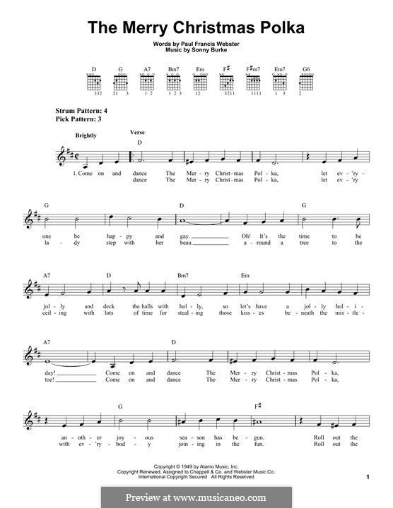 The Merry Christmas Polka: Für Gitarre mit Tabulatur by Sonny Burke