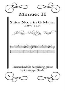 Suite für Cello Nr.1 in G-Dur, BWV 1007: Menuet II. Arrangement for acoustic guitar (flatpicking) by Johann Sebastian Bach