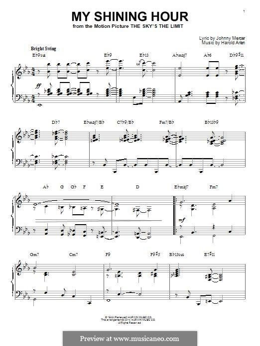 My Shining Hour (Ella Fitzgerald): Für Klavier, leicht by Harold Arlen