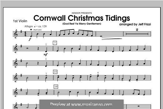 Cornwall Christmas Tidings (God Rest Ye Merry Gentlemen): Violin 1 part by folklore